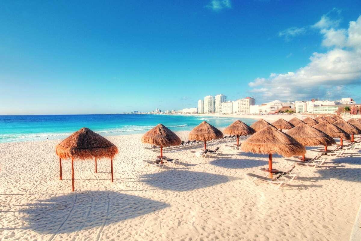 Beach huts in Cancun, Mexico.