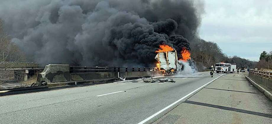 A tractor-trailer truck that was destroyed by fire on northbound I-95 in North Stonington on Tuesday, March 3, 2020 was carrying various pesticides and herbicides. And that has prompted the state Department of Energy and Environmental Protection to determine whether surface, groundwater and the Pawcatuck River were affected by pesticides that may have run off from water used in fighting the fire. Photo: State Police Photo