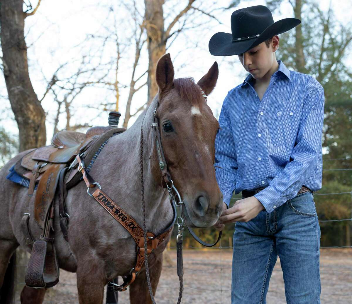 Dean Holtkamp, 14, inspects Busters' Prince Roan's harness, in Conroe, Friday, Feb 28, 2020. Holtkamp was awarded the All Around Cowboy Rookie of the Year saddle for 2020.