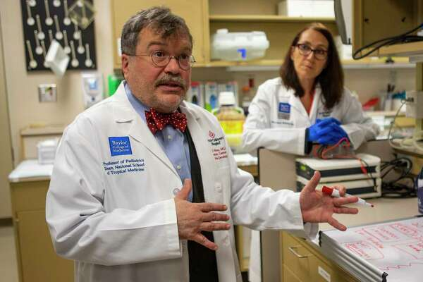 Peter Hotez, professor and dean for the National School of Tropical Medicine at the Baylor College of Medicine, talks about the work his team is doing with a vaccine they developed years ago to prevent SARS, Tuesday, Feb. 18, 2020, inside the a lab at the Texas Children's Hospital Center for Vaccine Development - Baylor College of Medicine in Houston.