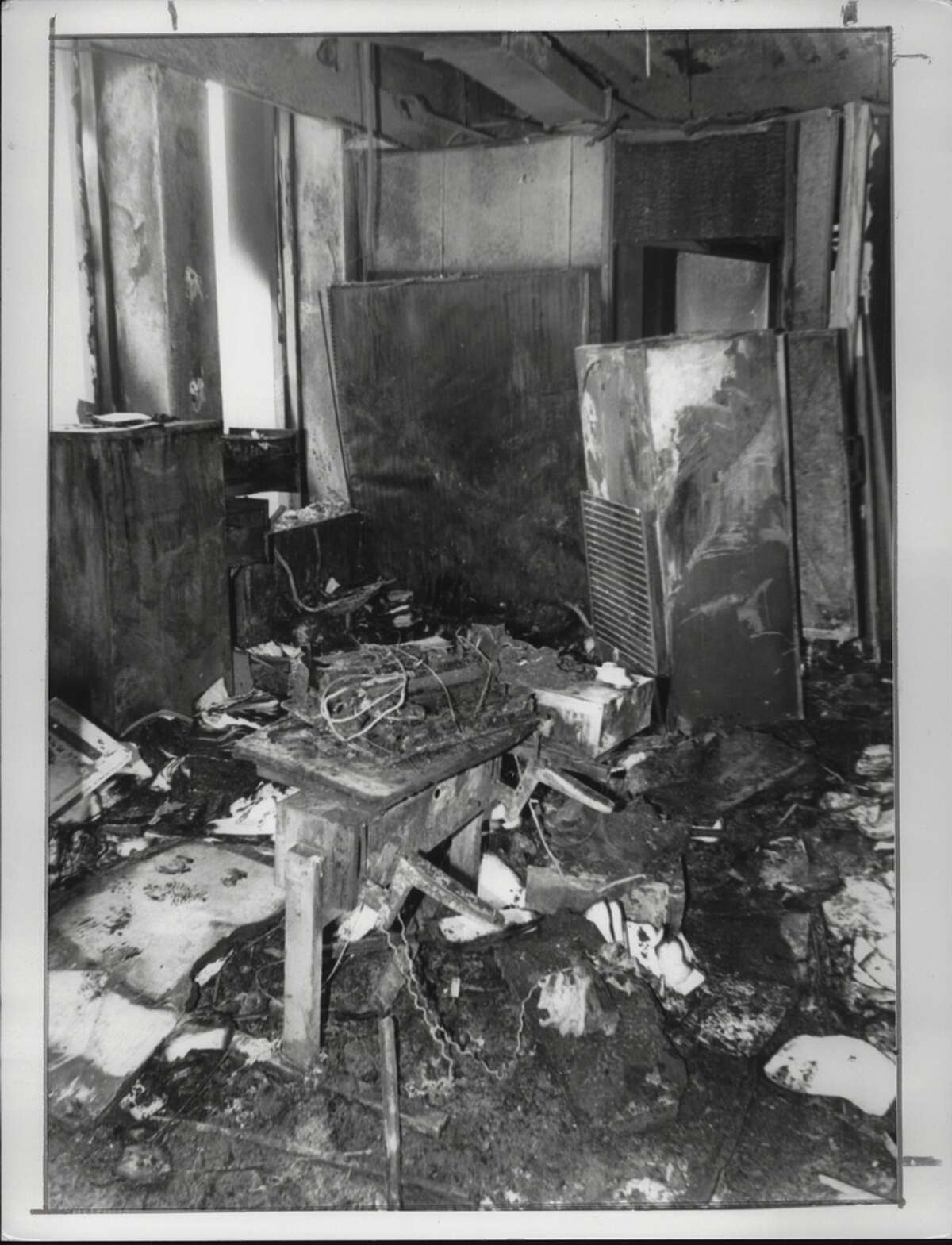 Fire damage at South Mall Agency Building, Albany, New York. March 04, 1986 (Jack Madigan/Times Union Archive)