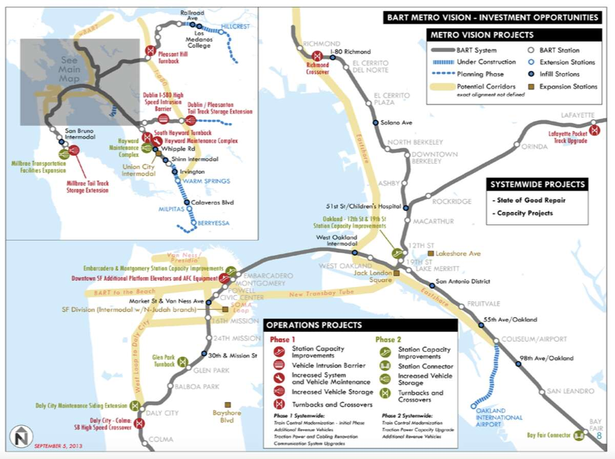 2013 BART expansion vision, showing many of the lines proposed here.