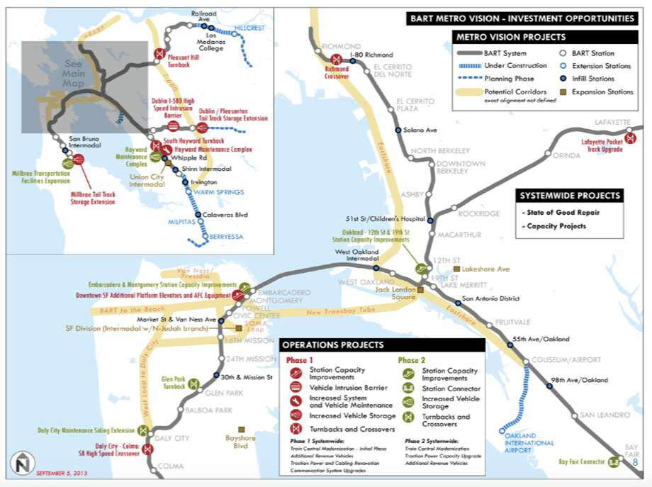 2013 BART expansion vision, showing many of the lines proposed here. Photo: BART