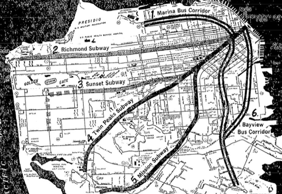 Subways down Geary Boulevard, through the Sunset District, and along the M Ocean View corridor have been in the mix for decades. This map depicts the transit plan from the failed Proposition B bond issue in 1966. Photo: City And County Of San Francisco