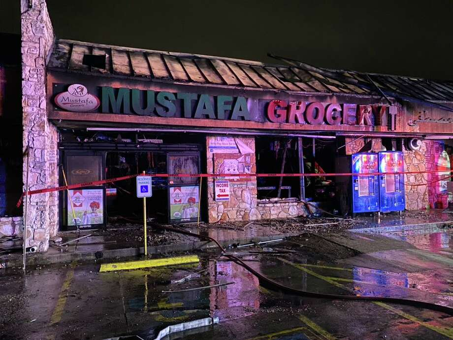 According to the San Antonio Fire Department, a call came in around 2:05 a.m. Sunday. The fire at Mustafa Grocery, which eventually escalated to a three-alarm blaze, started on the second floor of the building, where it was contained. No injuries were reported. SAFD said arson is still investigating as of Wednesday. Photo: San Antonio Fire Department