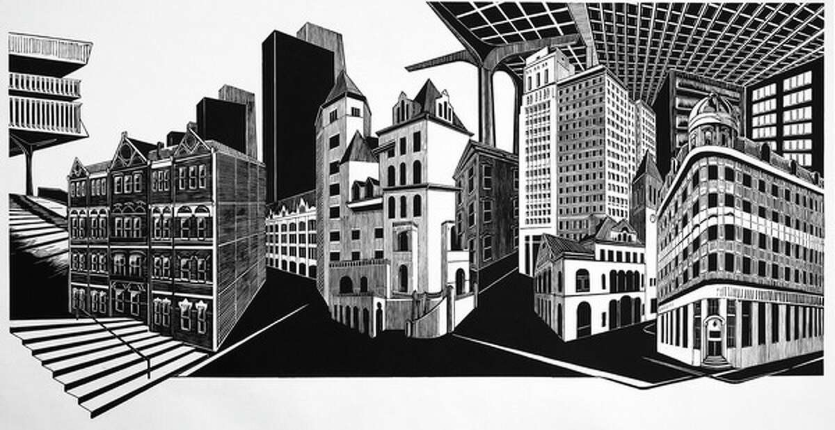 """Katherine Chwazik's """"Smallbany"""" at Courthouse Gallery. (woodblock print, limited edition of three. 43 x 82 inches, 2019.)"""