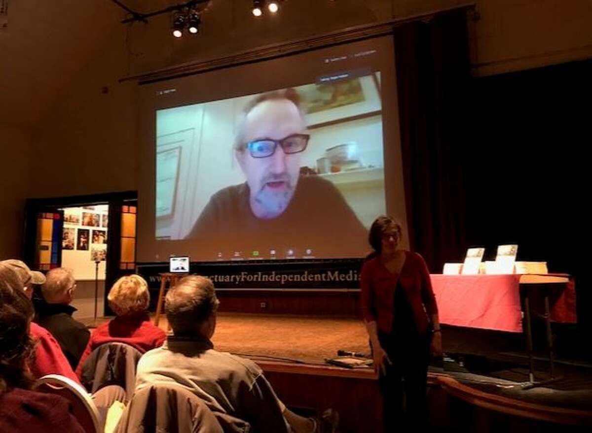 Extinction Rebellion co-founder Roger Hallam spoke to the public at the Sanctuary for Independent Media on Tuesday, March 3,2020 in Troy, N.Y.