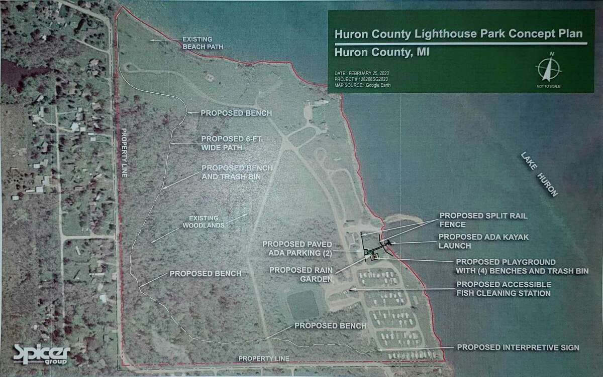 This map shows where the planned improvements to Lighthouse Park would be. Notable elements include a kayak launch, a fish cleaning station, and improvements to walking paths. (Courtesy of the Huron County Road Commission)