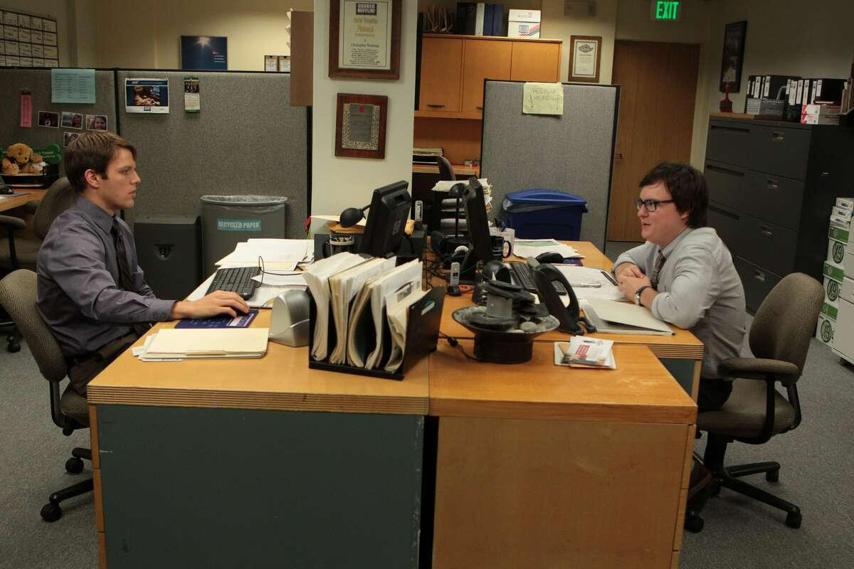 """Jake Lacy (L) as Pete Miller, Clark Duke (R) as Clark Green Lacy and Duke play latter season hires in """"The Office,"""" both of whom work as customer service representatives replacing Kelly Kapoor and Ryan Howard."""