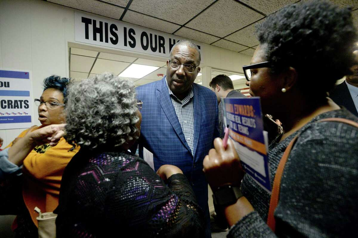State Sen. Royce West , Democrat - Dallas, greets and talks with local Democrats after speaking at the Jefferson County Democratic Headquarters in Beaumont Tuesday. West will be vying for the nomination to challenge U.S. Sen. John Cornyn in the 2020 election. Photo taken Tuesday, January 7, 2020 Kim Brent/The Enterprise