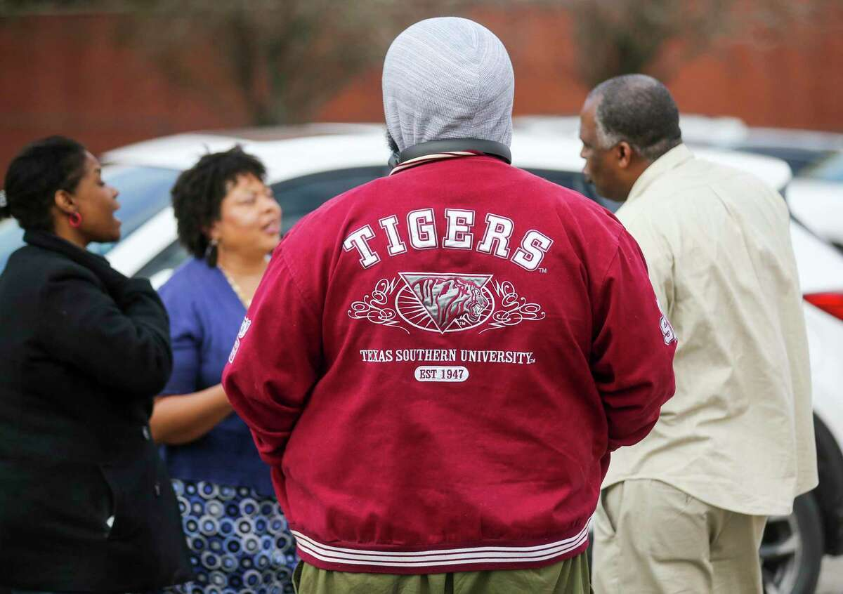 Texas Southern University's Alumni Association held a town hall meeting that was open to TSU and Alumni discuss strategies to reinstate university president Austin Lane, at the Pilgrim Congregational United Church February 15, 2020 in Houston.
