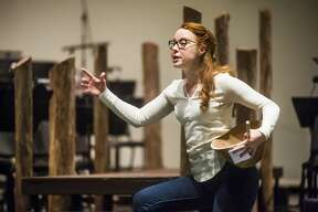 """Erica Spyres, in the role of Carrie Pipperidge, acts out a scene during a dress rehearsal for Midland Center for the Arts' production of """"Carousel in Concert"""" Tuesday, March 3, 2020. Spyres was an understudy in the Broadway revival of """"Carousel.""""€ (Katy Kildee/kkildee@mdn.net)"""