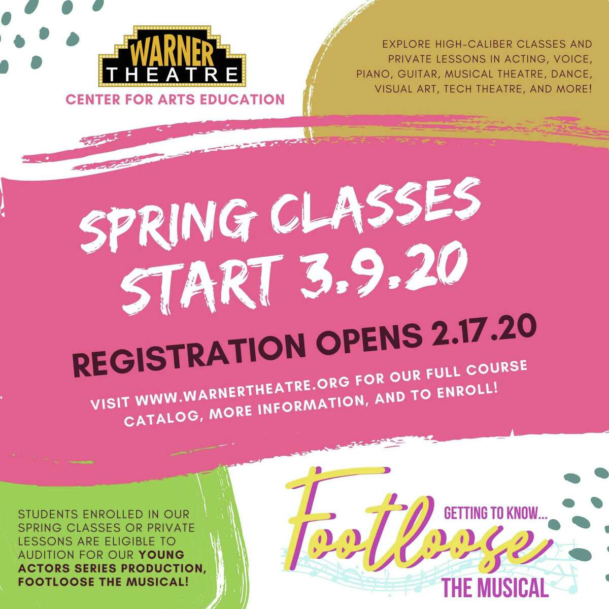 Spring arts classes begin March 9 at the Warner Theatre Center for Arts Education.