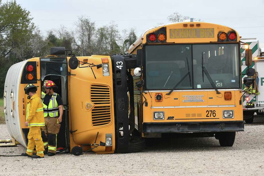 Local first responders work a mock bus accident created by the Klein ISD Police Department as a training event at the Klein Multipurpose Center on March 3, 2020. Photo: Jerry Baker, Houston Chronicle / Contributor / Houston Chronicle