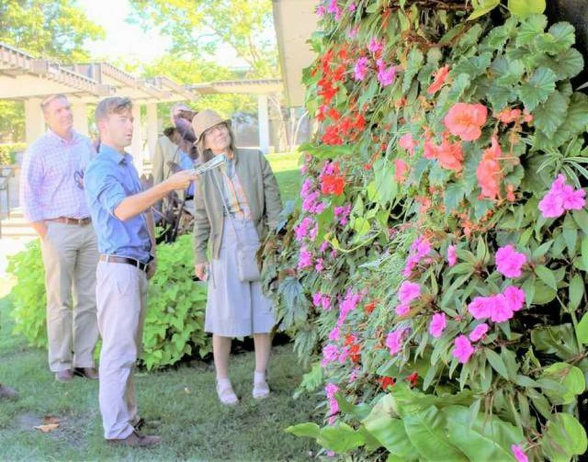 In this 2018 file photo, Ethan Braasch, Lewis and Clark Community College's (L&C) horticulture manager speaks to a group visiting the Monticello Sculpture Gardens at L&C's campus in Godfrey.