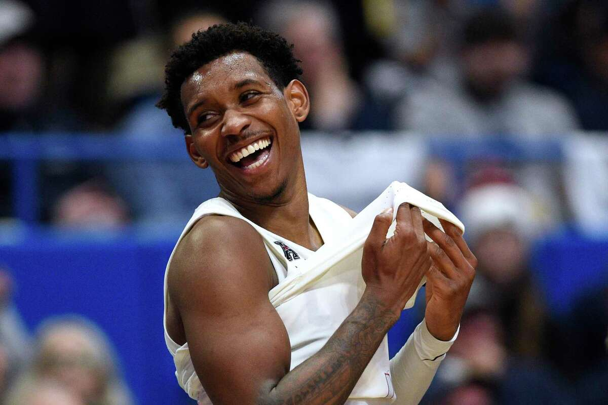 Connecticut's Christian Vital in the second half of an NCAA college basketball game, Wednesday, Feb. 26, 2020, in Hartford, Conn. (AP Photo/Jessica Hill)