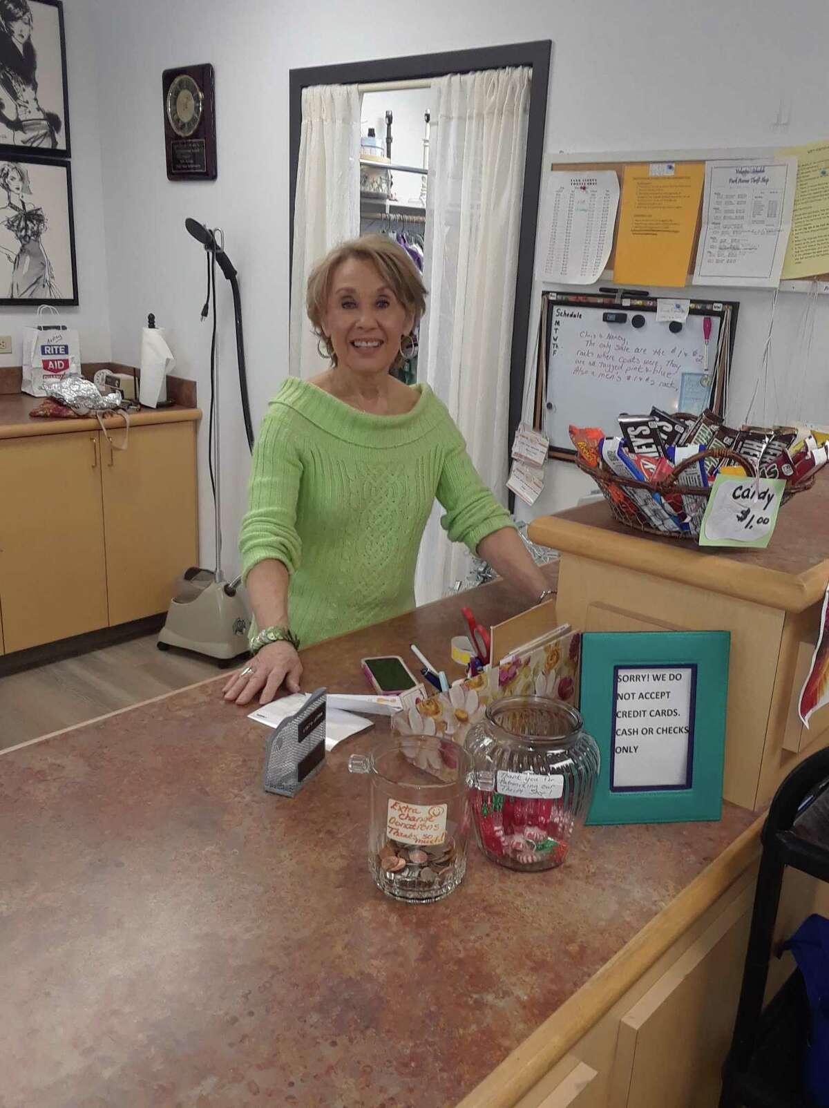 Karen Bentley, manager of the Park Avenue Thrift Shop inside the Sullivan Senior Center.
