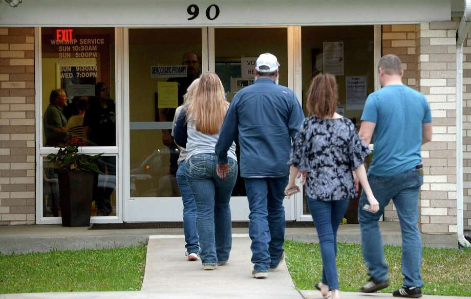 Voters make their way in and out of the Lumberton Church of Christ polling site in the final hours of Primary Day voting. Several candidtaes are vying for the Hardin County Commissioner Precinct 3 seat. Photo taken Tuesday, March 3, 2020 Kim Brent/The Enterprise Photo: Kim Brent / The Enterprise / BEN