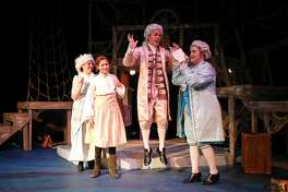 From left, Grandma Hawkins (Mariah Singer), Jim Hawkins (Farrah Brigmon), Squire Trelawney (Zach Jebsen), and Doctor Livesy (Elizabeth Smith) realize the map they hold leads to treasure buried by the infamous Captain Flint on a faraway island, during dress rehearsal for Midland Community Theater's Treasure Island, March 3, 2020 at MCT. MANDATORY CREDIT: The Oilfield Photographer, Inc.