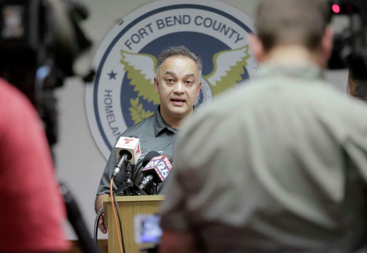 Dr. Umair Shah of the Harris County Public Health Authority talks to the media after Fort Bend County officials confirmed the county's first presumptive positive case of COVID-19 during a press conference in Richmond on Wednesday, March 4, 2020.