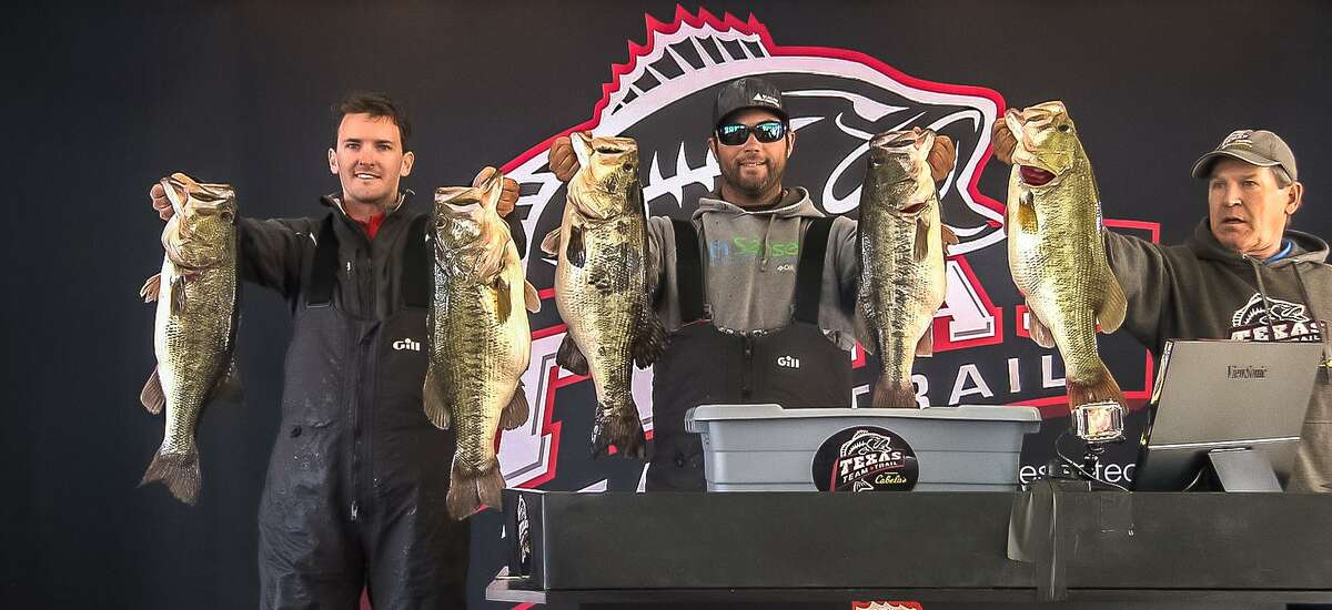 Brian Shook displays two keepers from might've been the heaviest five-bass haul ever in a U.S. tournament. He and partner Danny Iles caught five bass totaling 49.31 pounds at Sam Rayburn Reservoir in a Texas Team Trail event Feb. 22.