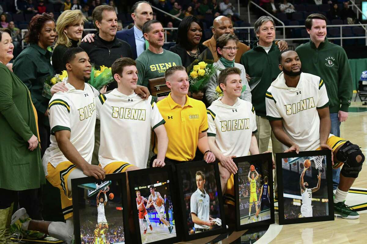 Siena seniors are honored with their family members during a senior night celebration before a game against Niagara at the Times Union Center on Wednesday, March 4, 2020 in Albany, N.Y. (Lori Van Buren/Times Union)