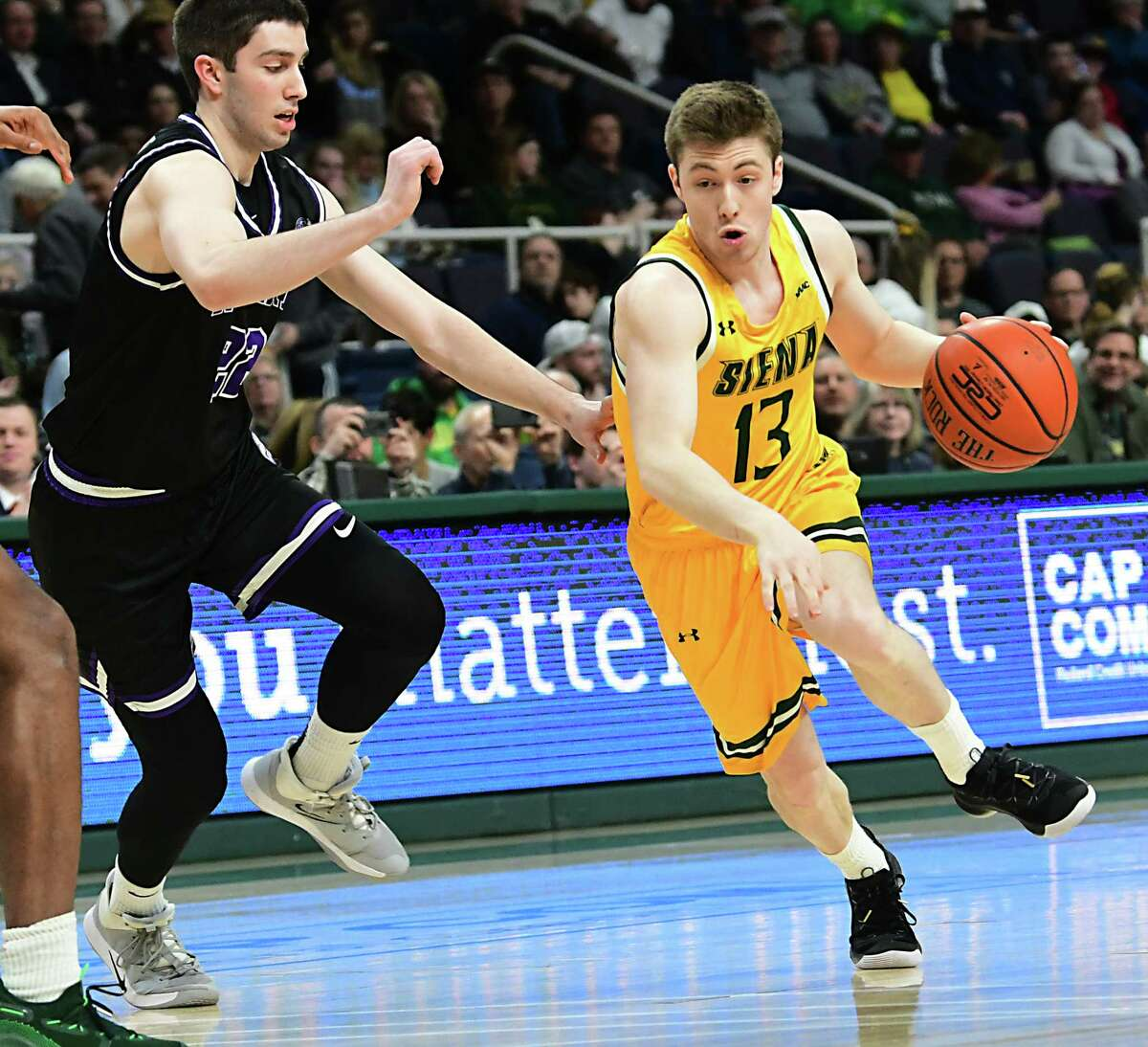Siena's Ben Diamond makes a move to the basket during a game against Niagara at the Times Union Center on Wednesday, March 4, 2020 in Albany, N.Y. Diamond was honored during Senior night and started for the Saints. (Lori Van Buren/Times Union)