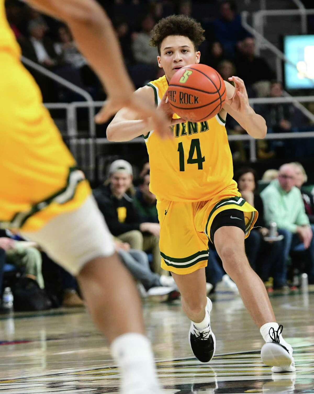 Siena's Jordan King passes the ball during a game against Niagara at the Times Union Center on Wednesday, March 4, 2020 in Albany, N.Y. (Lori Van Buren/Times Union)