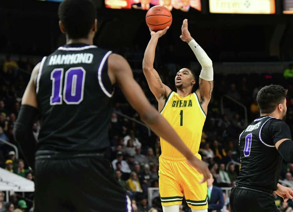 Siena's Elijah Burns takes a jump shot during a game against Niagara at the Times Union Center on Wednesday, March 4, 2020 in Albany, N.Y. (Lori Van Buren/Times Union)
