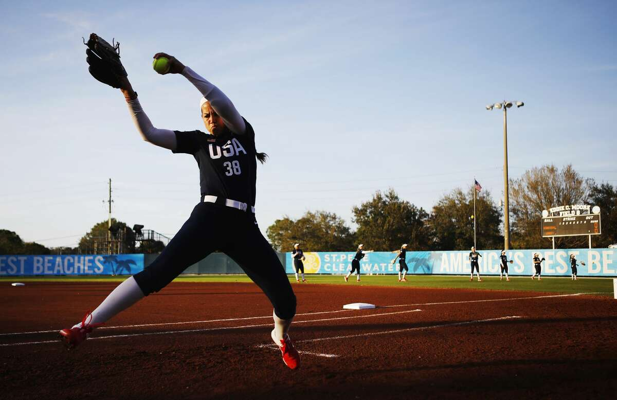 Team USA softball pitcher Cat Osterman warms up for a game against Liberty University at the St Pete Clearwater Elite Invitational Softball Tournament in Clearwater, Fla., on Wednesday, Feb. 12, 2020.