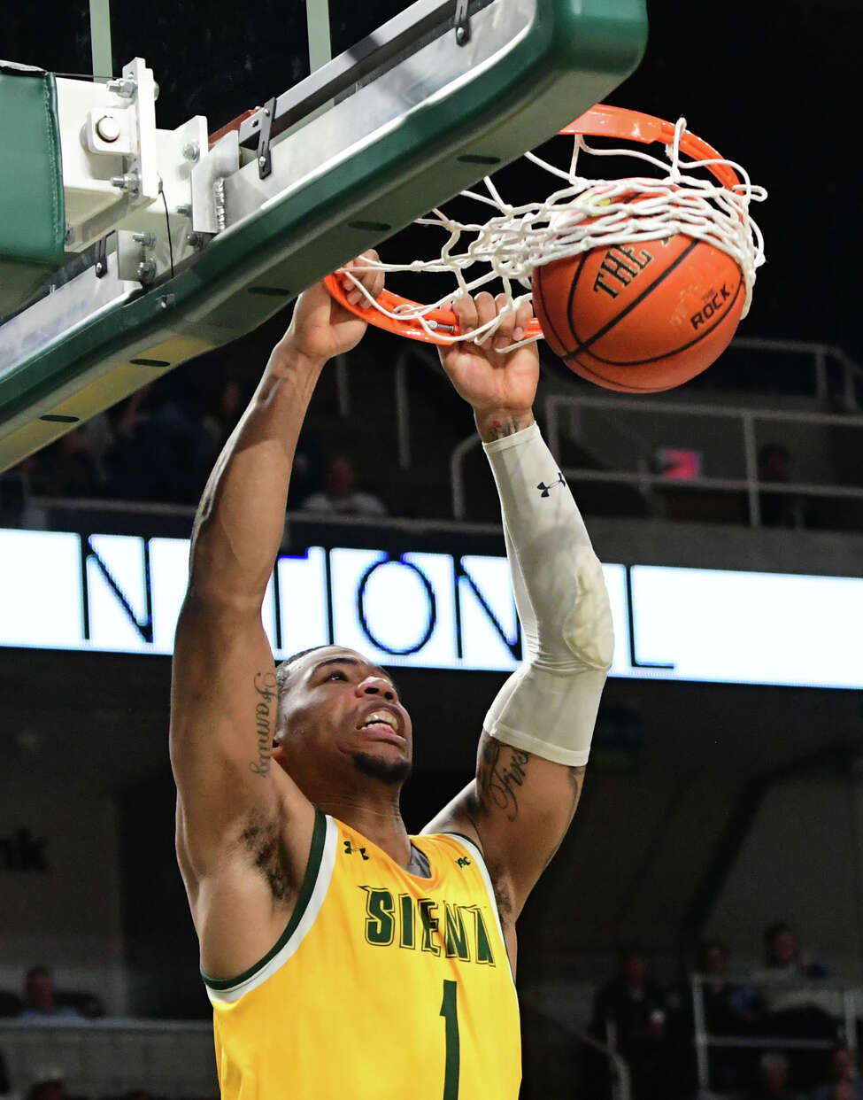 Siena's Elijah Burns dunks the ball during a game against Niagara at the Times Union Center on Wednesday, March 4, 2020 in Albany, N.Y. (Lori Van Buren/Times Union)