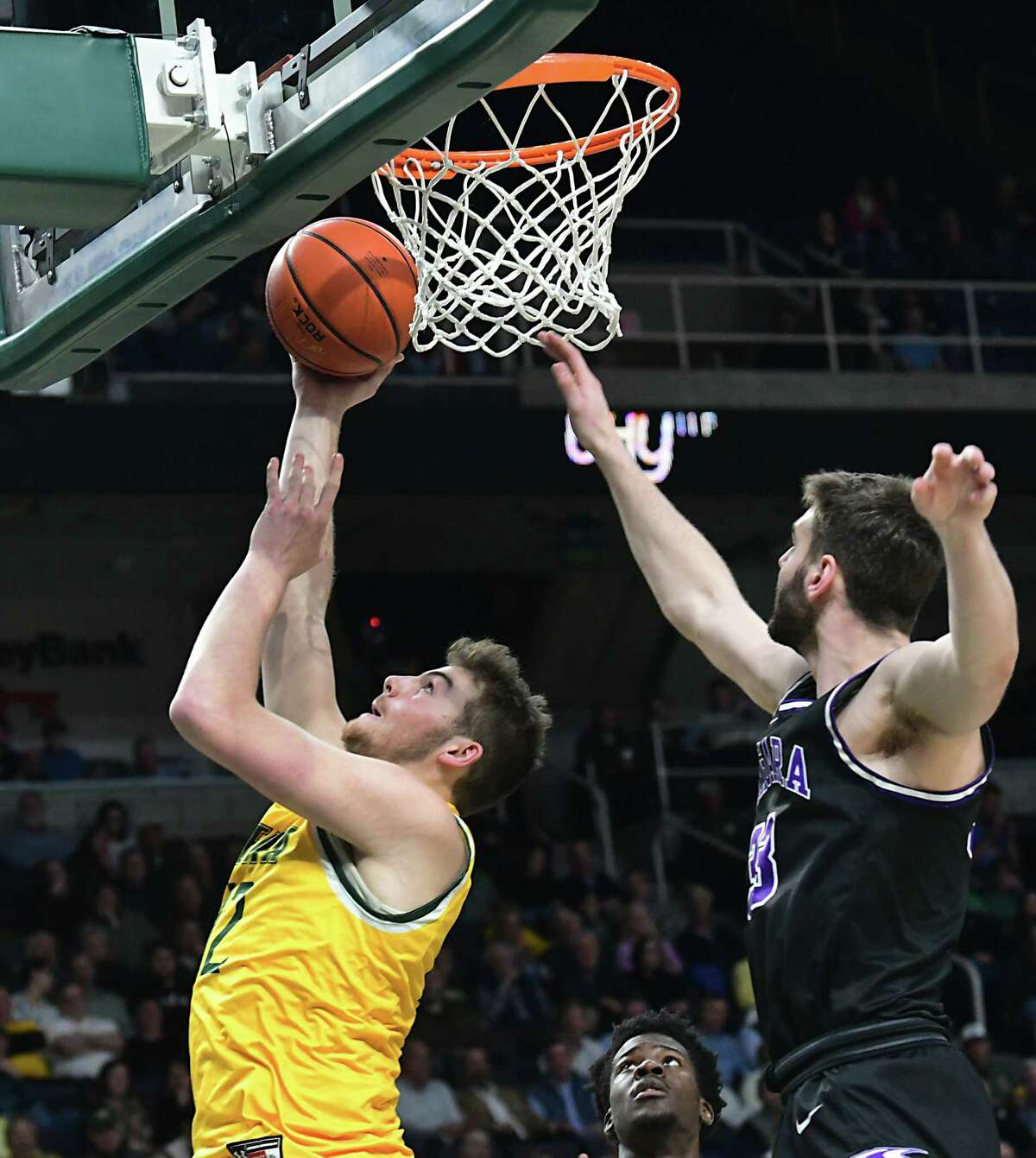 Siena's Kyle Young drives to the basket during a game against Niagara at the Times Union Center on Wednesday, March 4, 2020 in Albany, N.Y. (Lori Van Buren/Times Union)