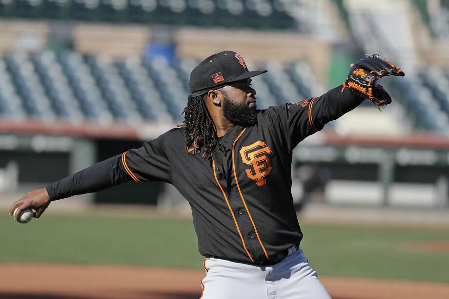 San Francisco Giants' Johnny Cueto throws during spring training baseball practice, Friday, Feb. 14, 2020, in Scottsdale, Ariz. (AP Photo/Darron Cummings) Photo: Darron Cummings, Associated Press