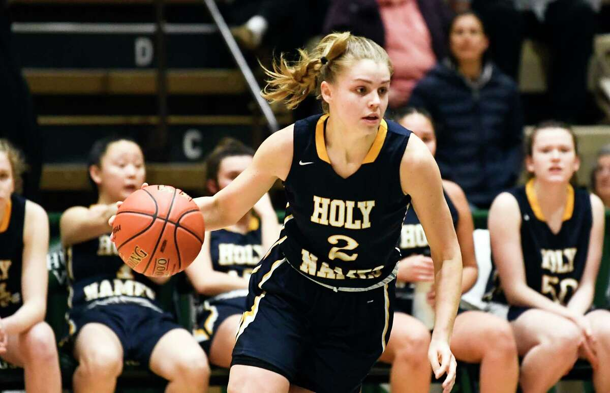 Academy of the Holy Names' Grace Field (2) during a girls' Section II Class A high school semifinal basketball game against Queensbury Wednesday, March 4, 2020 in Troy, N.Y. (Hans Pennink / Special to the Times Union)