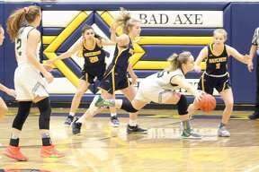 The Bad Axe girls basketball team beat Laker, 48-31, on Wednesday, March 4, 2020, to advance to the district title game against Cass City.