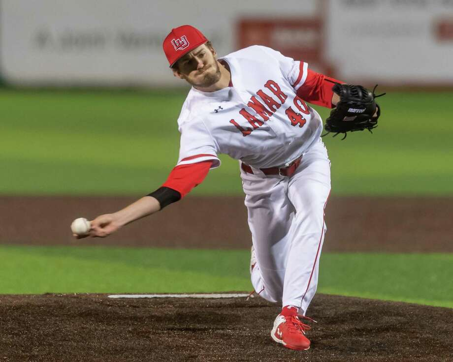 Douglas Palmer (40) pitches in the third inning as the Prairie View Panthers went down to the Lamar Cardinals in the last non-conference game at Vincent-Beck Stadium on Tuesday, March 4, 2020..