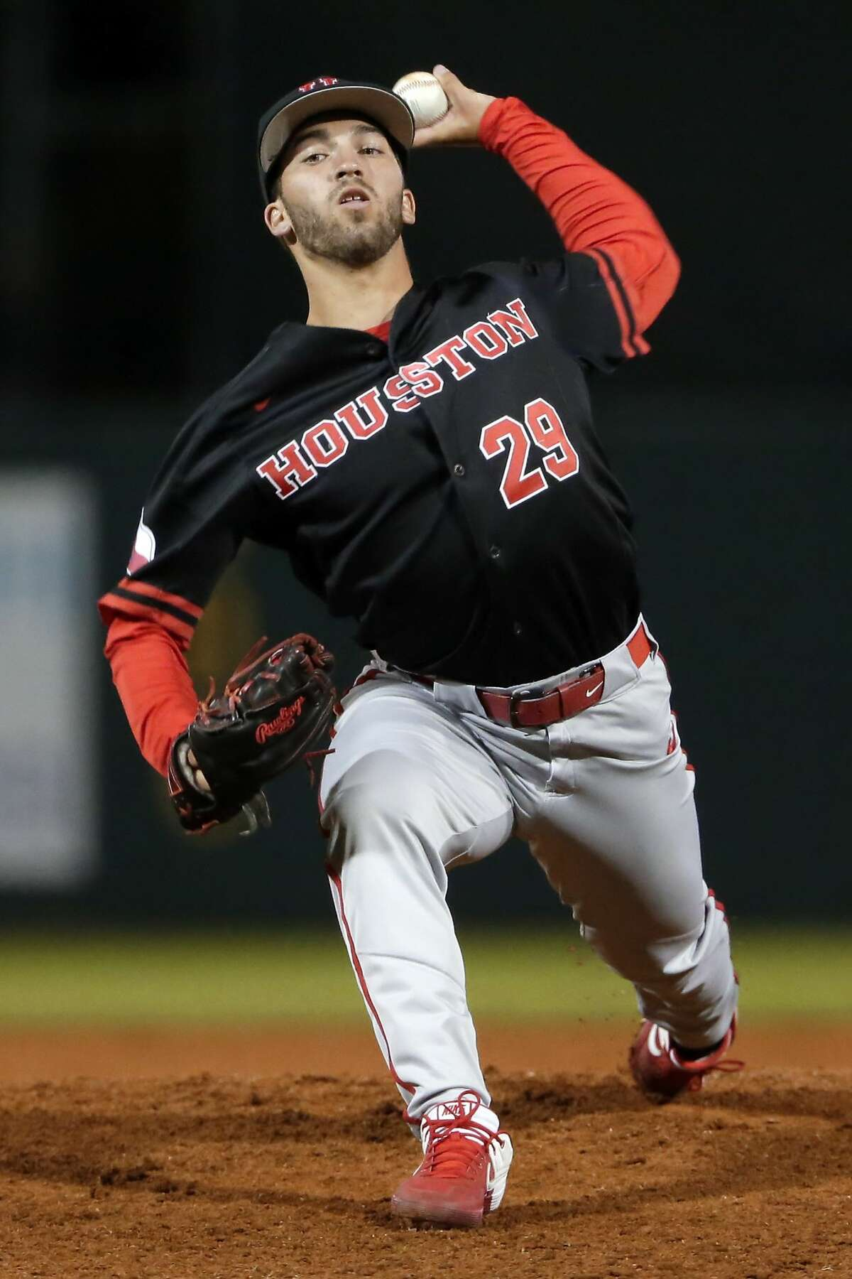 Houston starting pitcher Nick Rupp throws against Rice in the first inning during a baseball game at Rice Wednesday, Mar. 4, 2020 in Houston, TX.