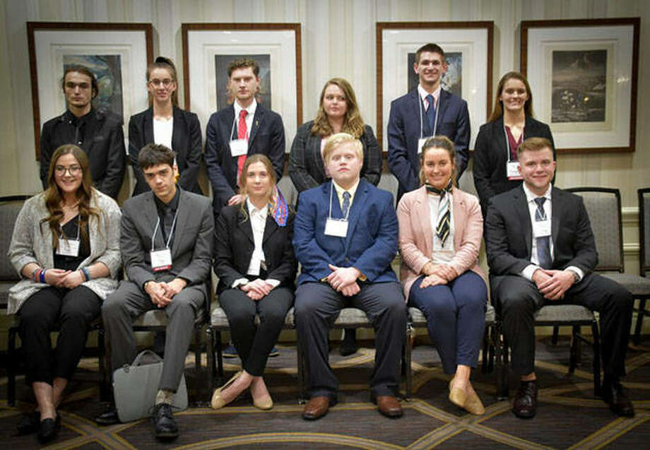 Twelve Lincoln Land Community College students represented the republics of Madagascar and Togo in the annual Midwest Model United Nations in St. Louis. Photo: Photo Provided