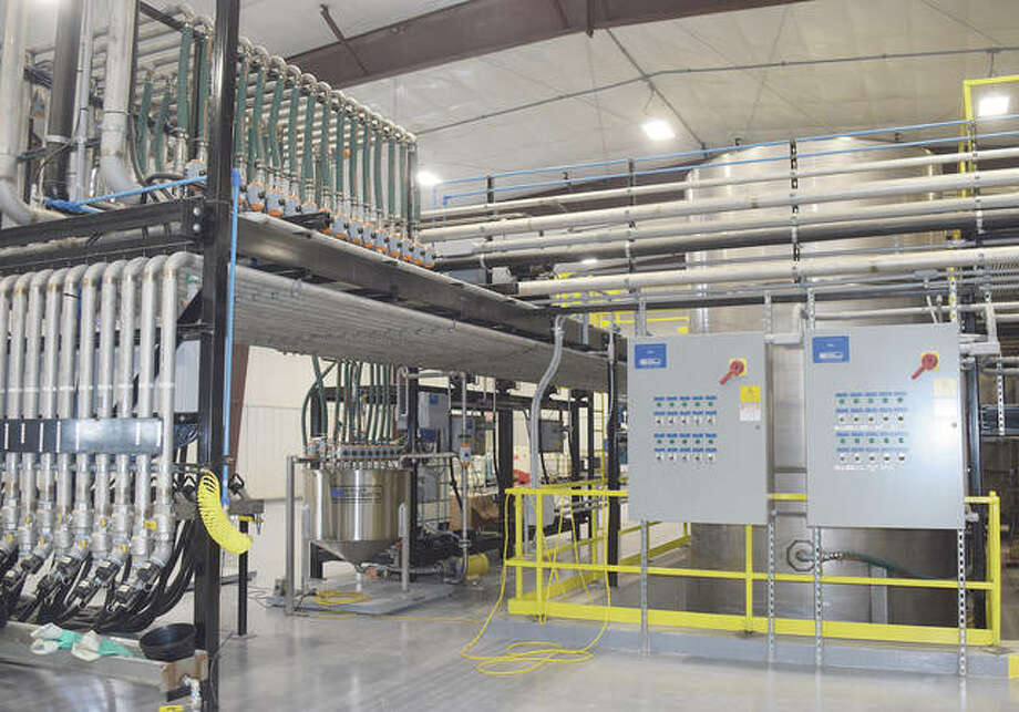 The chemical storage building features many safety features, including slanted floors to prevent chemical spills and reduce the likelyhood of chemicals flowing outside the building. Photo: Samantha McDaniel-Ogletree | Journal-Courier