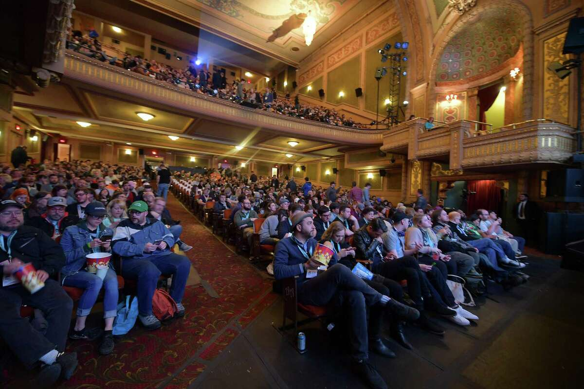 In this file pic from last season's SXSW Conference it shows the audience viewing the 'Pet Sematary' Premiere at the packed Paramount Theatre on March 16, 2019 in Austin, Texas. Facebook has now followed Twitter in dropping out of SXSW over coronavirus fears. (Michael Loccisano/Getty Images for SXSW/TNS)