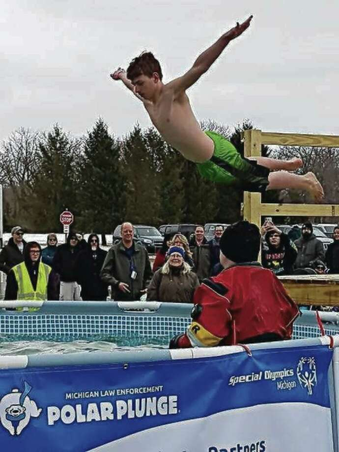 Over 40 participants -- many dressed in costumes -- attended the second annual Manistee Polar Plunge in 2019. This year's Polar Plunge will take place on March 14. (File Photo)