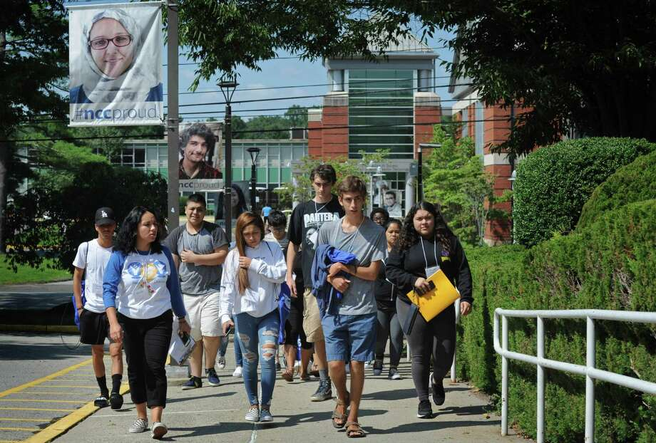 New students to Norwalk Community College tour the campus with Student Ambassador Rosa Balderrama, left, during orientation Thursday, August 23, 2018, in Norwalk, Conn. Students met with NCC's Success Coaches and Student Ambassadors and learned where to go and what to do on campus before the first day of class. Photo: Erik Trautmann / Hearst Connecticut Media / Norwalk Hour