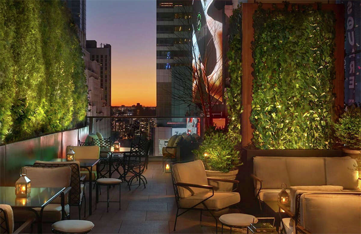 Outdoor terrace of the lobby bar at Marriott's Times Square Edition Hotel on 47th Street at Seventh Avenue.