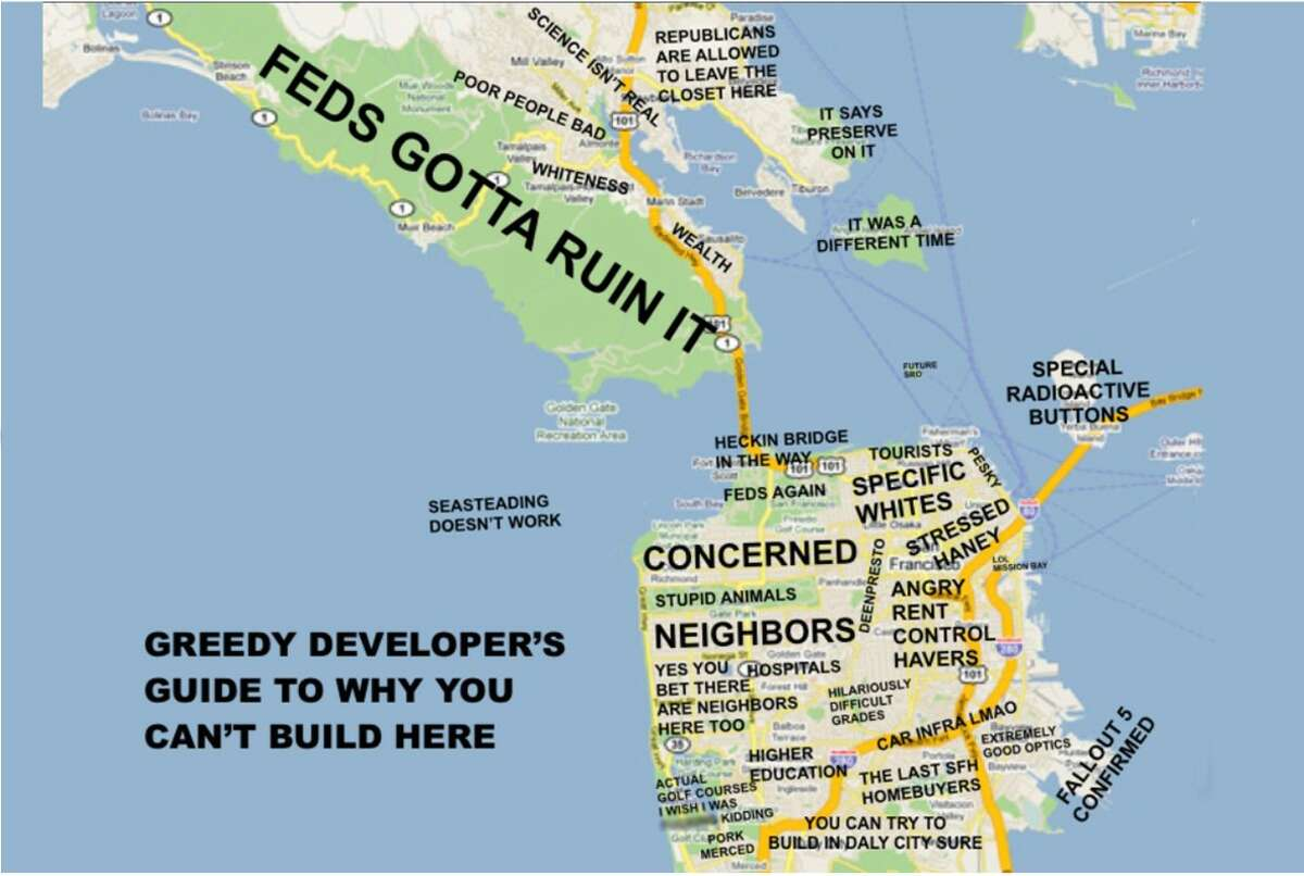 Hilarious Map Shows Why Nothing Ever Gets Built In San Francisco The nine counties of the san francisco bay area are connected by a network of local and regional transit systems. hilarious map shows why nothing ever