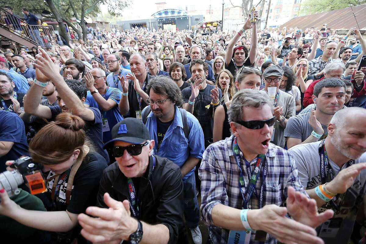 Fans watch The Zombies perform at Stubb's during South by Southwest Thursday March 19, 2015 in Austin, TX.