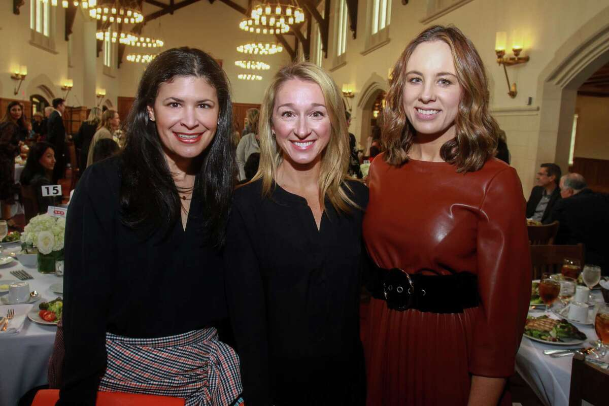 Kristy Bradshaw, from left, Erin Stewart and Linsay Radcliffe at Breakthrough Luncheon at St. John's School in Houston on March 2, 2020.