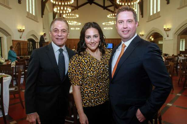 EMBARGOED FOR SOCIETY REPORTER UNTIL MAR 7 Tony Danza, left, with co-chairs Kelli Kickerillo and Todd Forester at Breakthrough Luncheon at St. John's School in Houston on March 2, 2020.