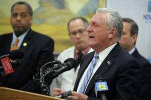 Mayor Harry Rilling speaks during a news conference at City Hall in Norwalk, Conn. March 5th, 2020. Rilling and other elected, health and school officials to speak about the city's current plans to monitor and respond to Coronavirus.