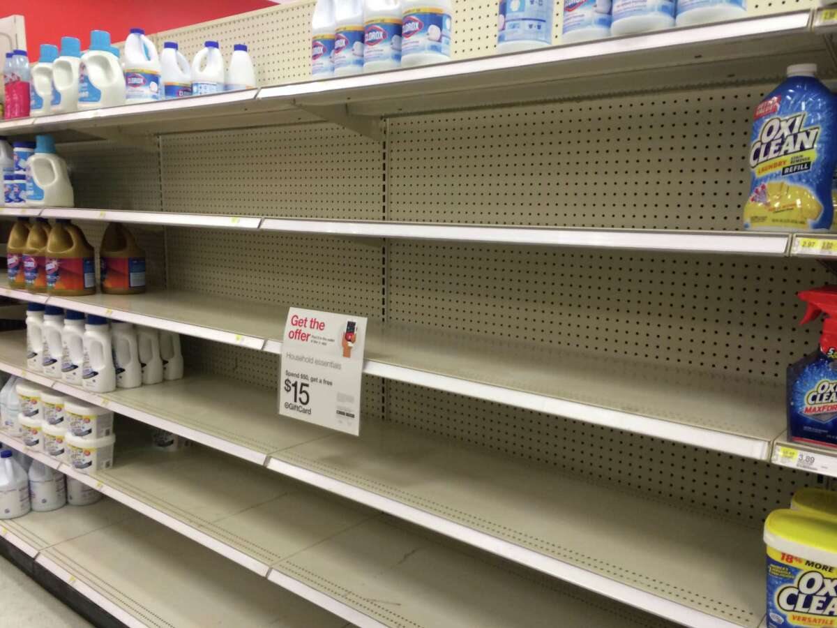Bleach, which can be mixed one tablespoon in a gallon of water to create a sanitizing solution, is in short supply at the Hawley Lane Target.