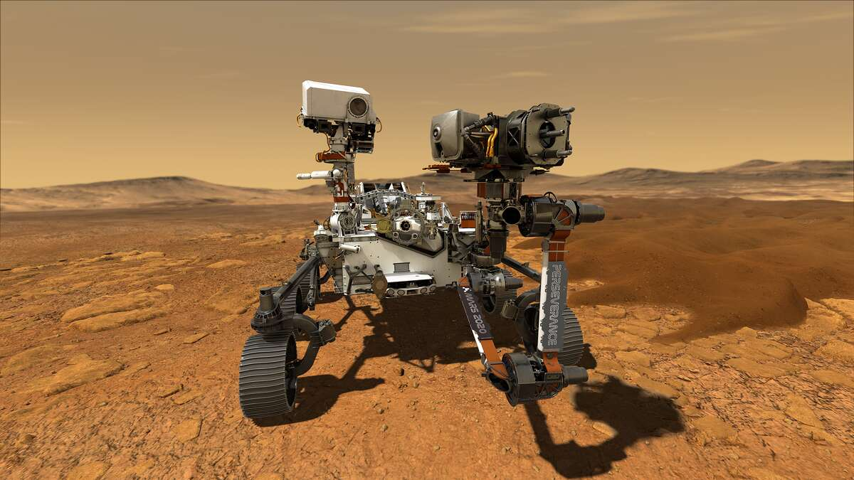 This illustration depicts NASA's Perseverance rover operating on the surface of Mars. Perseverance will land at the Red Planet's Jezero Crater on Feb. 18, 2021.